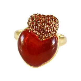 Orange Sapphire Fire Opal 18K Gold Heart Ring