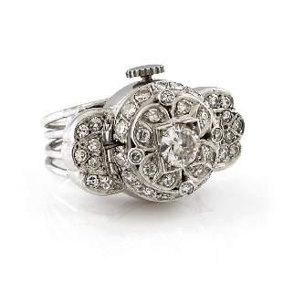 Ebel Vintage Diamond Platinum Ring Watch