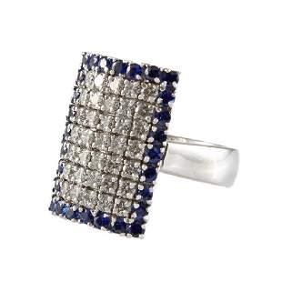 Diamond Sapphire 18K White Gold Ring