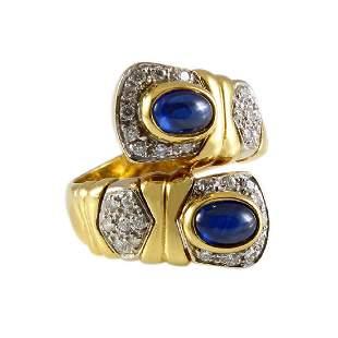 Cabochon Sapphire Diamond 18K Gold Crossover Ring