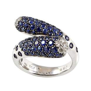 Sapphire Diamond 18K White Gold Ring