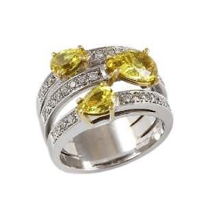Yellow Sapphire Diamond 18K White Gold Ring