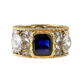 Buccellati Sapphire Diamond 18K Gold Ring