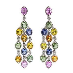 Multi Colored Sapphire Diamond 18K Gold Earrings