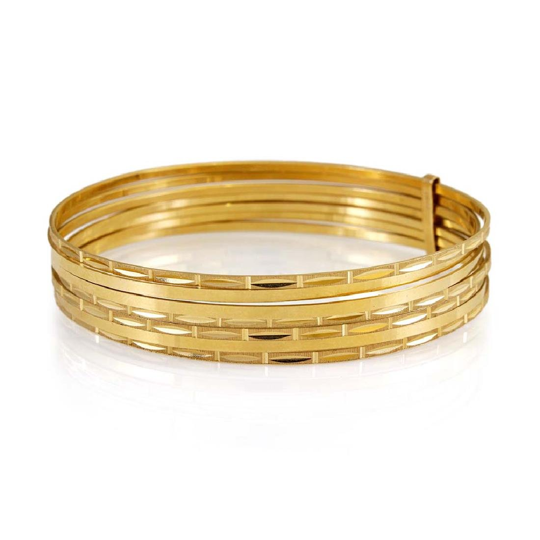 14K Yellow Gold 7 Day Slip-on Bangle Bracelet