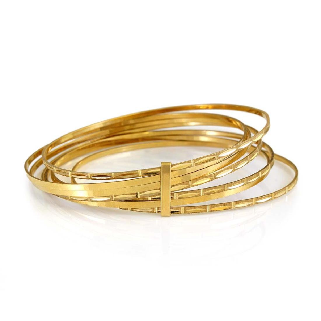 14K Yellow Gold 7 Day Slip-on Bangle Bracelet - 2