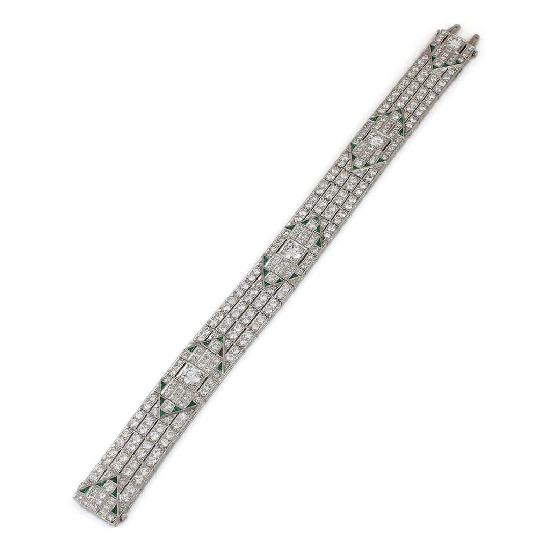 Art Deco Diamond Emerald Platinum Bracelet - 2