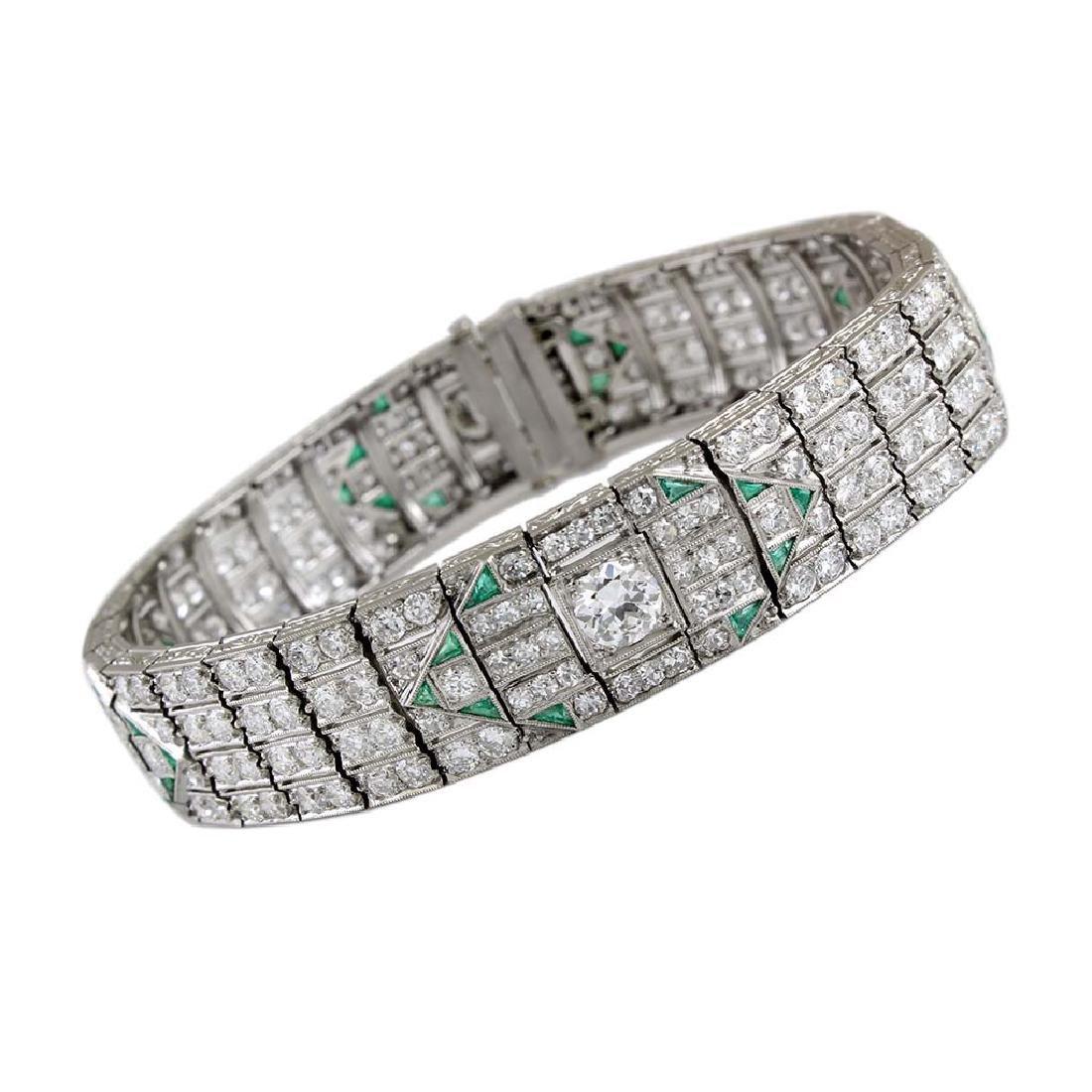 Art Deco Diamond Emerald Platinum Bracelet - 3