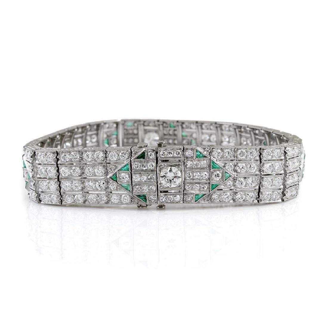 Art Deco Diamond Emerald Platinum Bracelet - 4