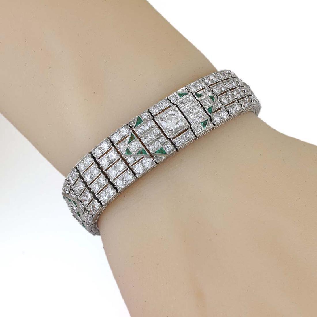 Art Deco Diamond Emerald Platinum Bracelet - 6