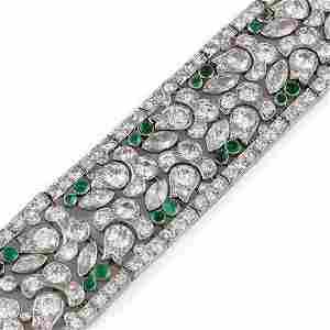 Lacloche Freres Art Deco Diamond Emerald Platinum