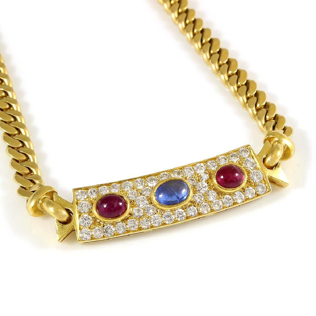 Bulgari Diamond Ruby Sapphire 18K Gold Necklace