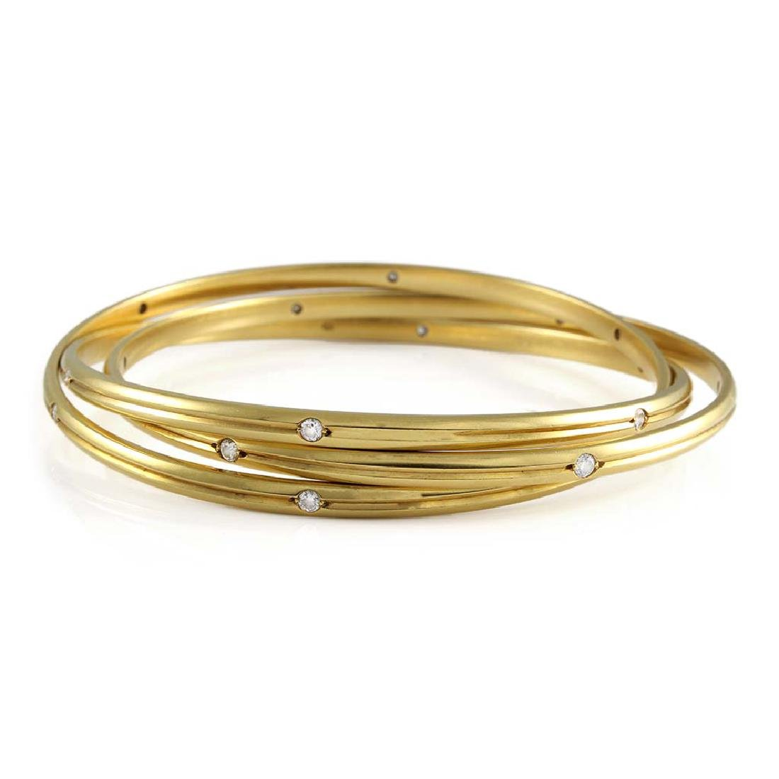 Cartier Trinity Diamond 18K Gold Bangle Bracelet