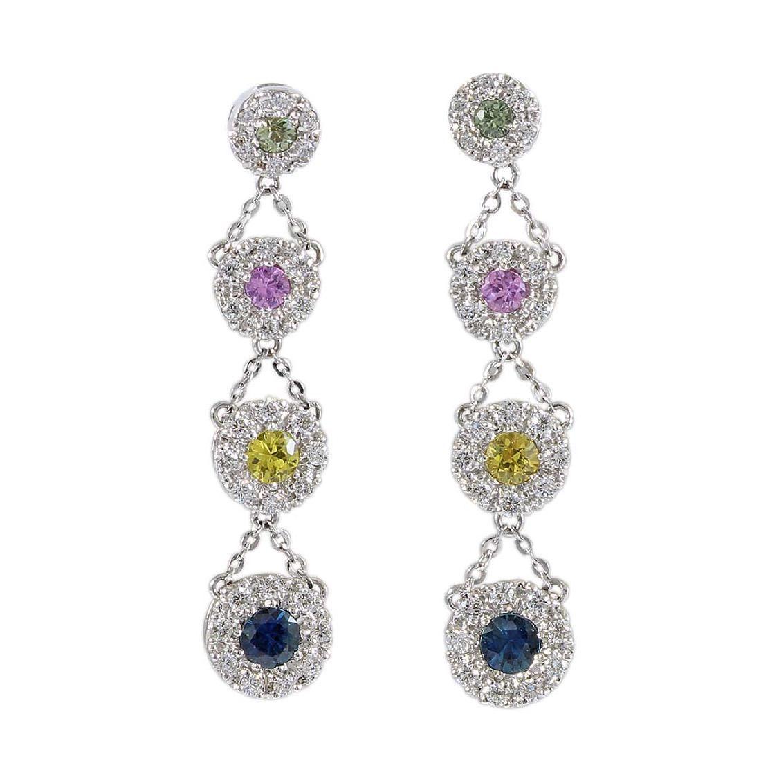 Diamond Multi Color Sapphire 14K Gold Drop Earrings
