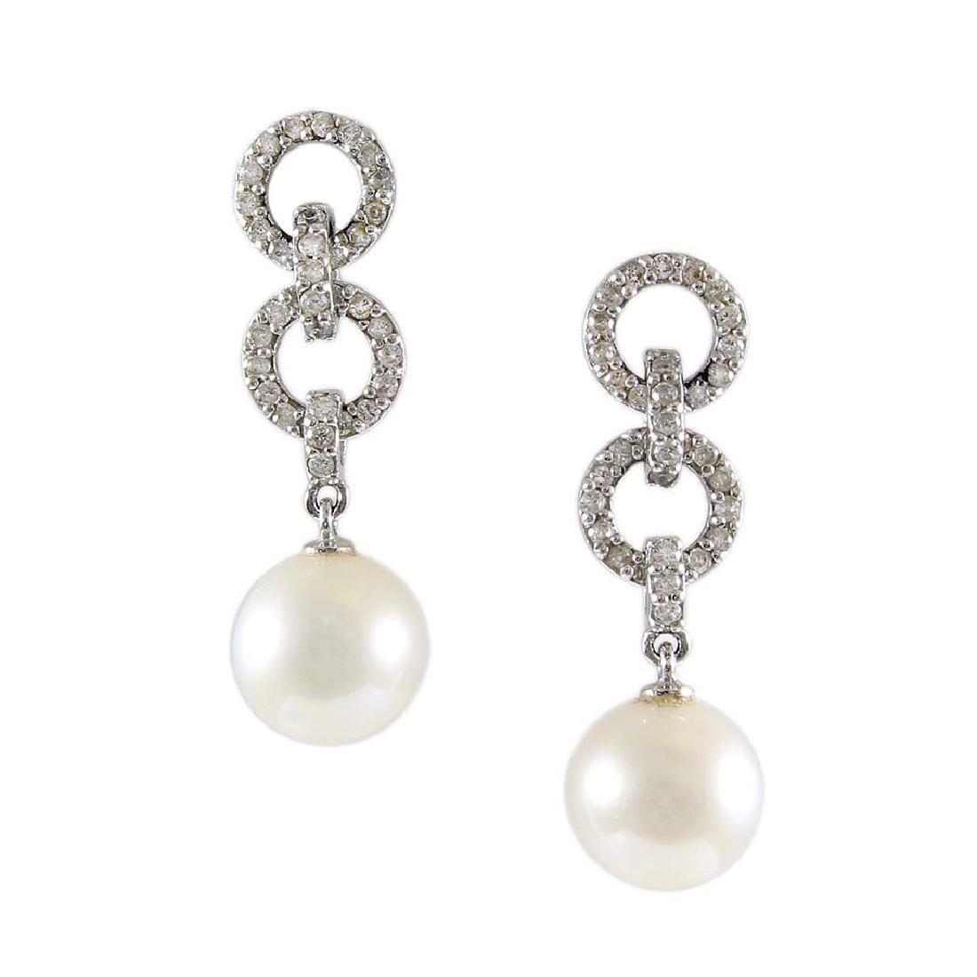 Pearl Diamond 14K Gold Drop Earrings