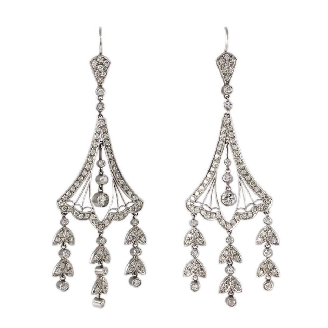 Diamond Platinum Chandelier Earrings