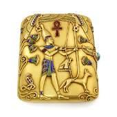 Marcus & Co. Egyptian Revival Gold Cigarette Case