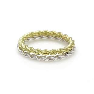 8k Yellow & White Gold Twist Band Ring