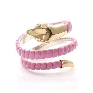 Enamel Diamond Gold Snake Ring