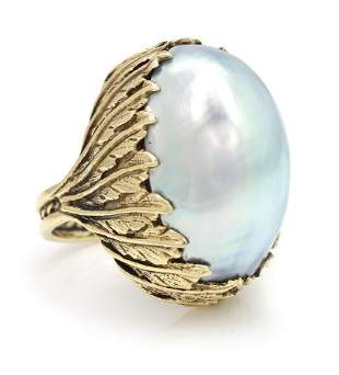 Large Mother of Pearl Gold Ring
