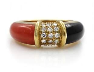 18k Gold Diamond Coral Onyx Ring