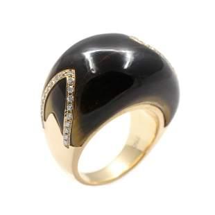 Tiger Eye Agate Diamond 18k Gold Ring