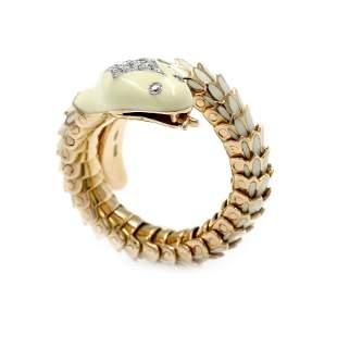 18k Gold Elastic Snake Ring
