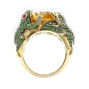14k Gold Gem Set Frog ring