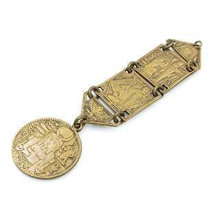 Brass Egyptian Revival Watch Fob