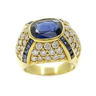 18k Gold, Sapphire & Diamond Ring