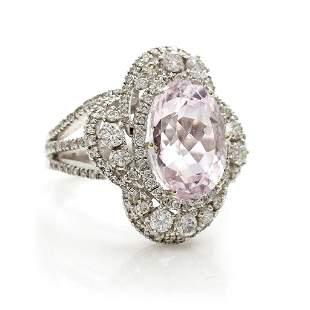 18k Gold, Kunzite & Diamond Ring