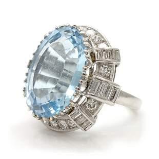Handmade Platinum Blue Topaz & Diamond Ring