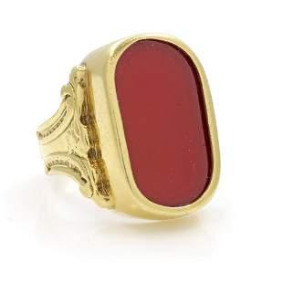 Vintage 18k Gold, Carnelian Ring