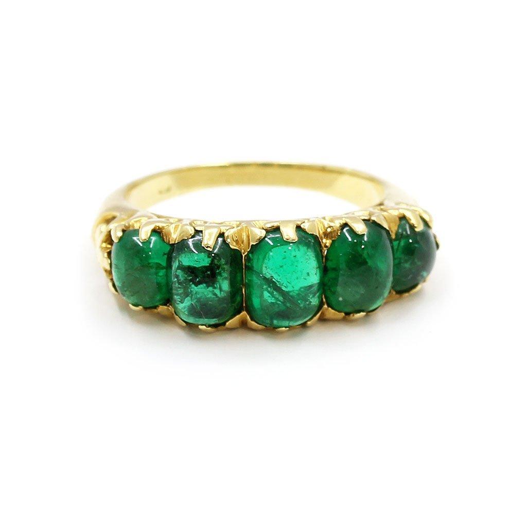 18k Gold 5 Stone Cabochon Emerald Ring