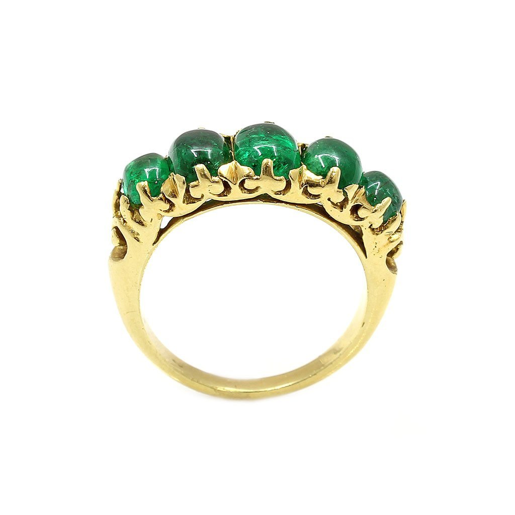18k Gold 5 Stone Cabochon Emerald Ring - 2