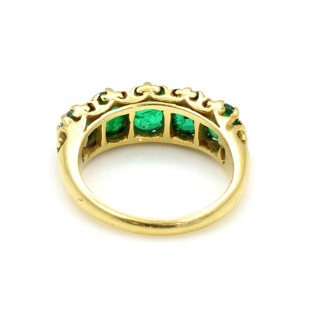 18k Gold 5 Stone Cabochon Emerald Ring - 3