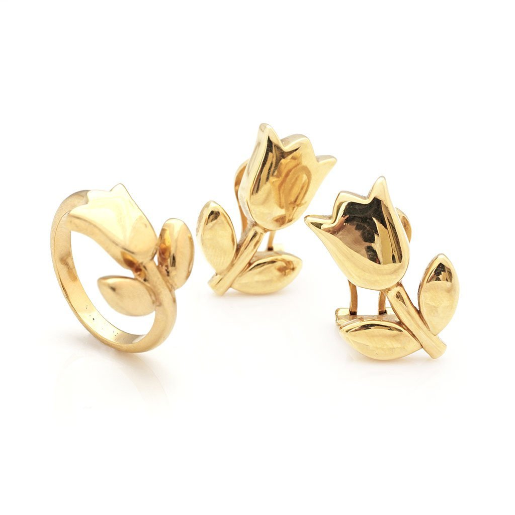 Tous 18k Gold Ring & Pair of Earrings