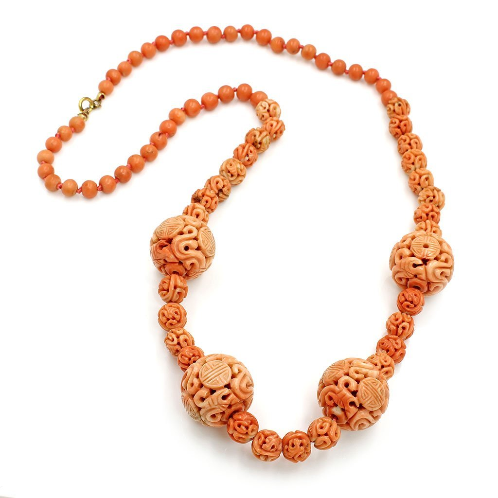 Carved Coral Necklace