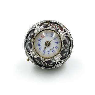 Platinum Diamond Enamel Pendant Watch