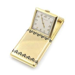 Tiffany & Co. 18k Gold Travel Clock