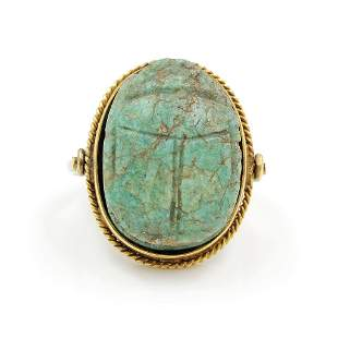 Ancient Egyptian Scarab Swivel Gold Ring