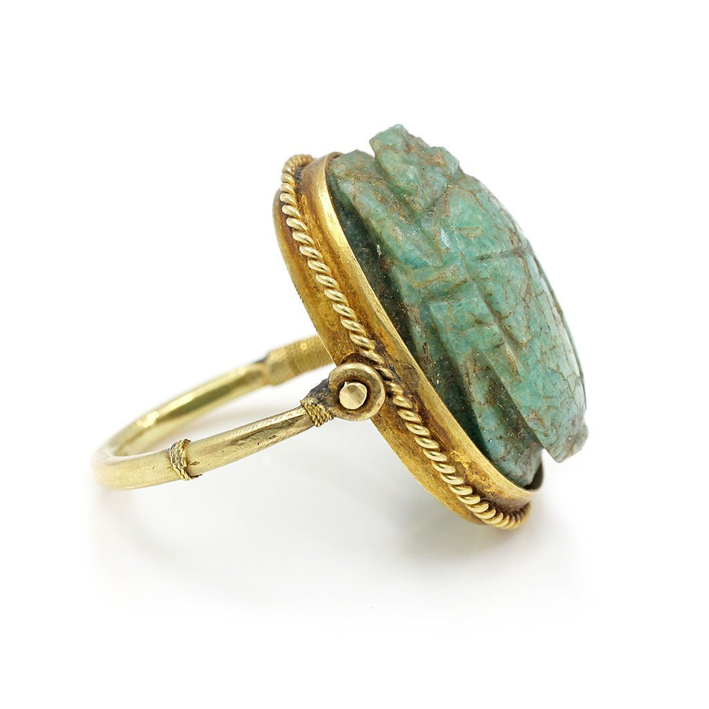 Ancient Egyptian Scarab Swivel Gold Ring - 2