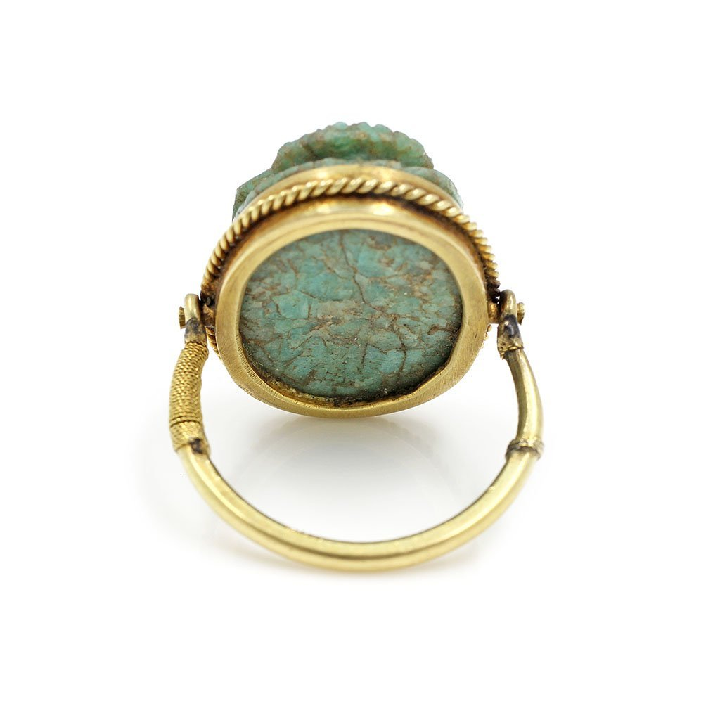 Ancient Egyptian Scarab Swivel Gold Ring - 3