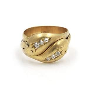 k Gold, Diamond Crossover Snake Ring