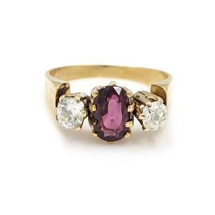 Victorian 18k Gold 3 Stone Ring, English