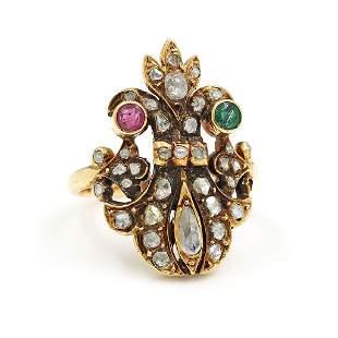 Victorian Diamond Emerald Ruby Gold Ring