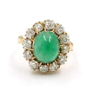 Victorian Emerald Diamond Gold Ring