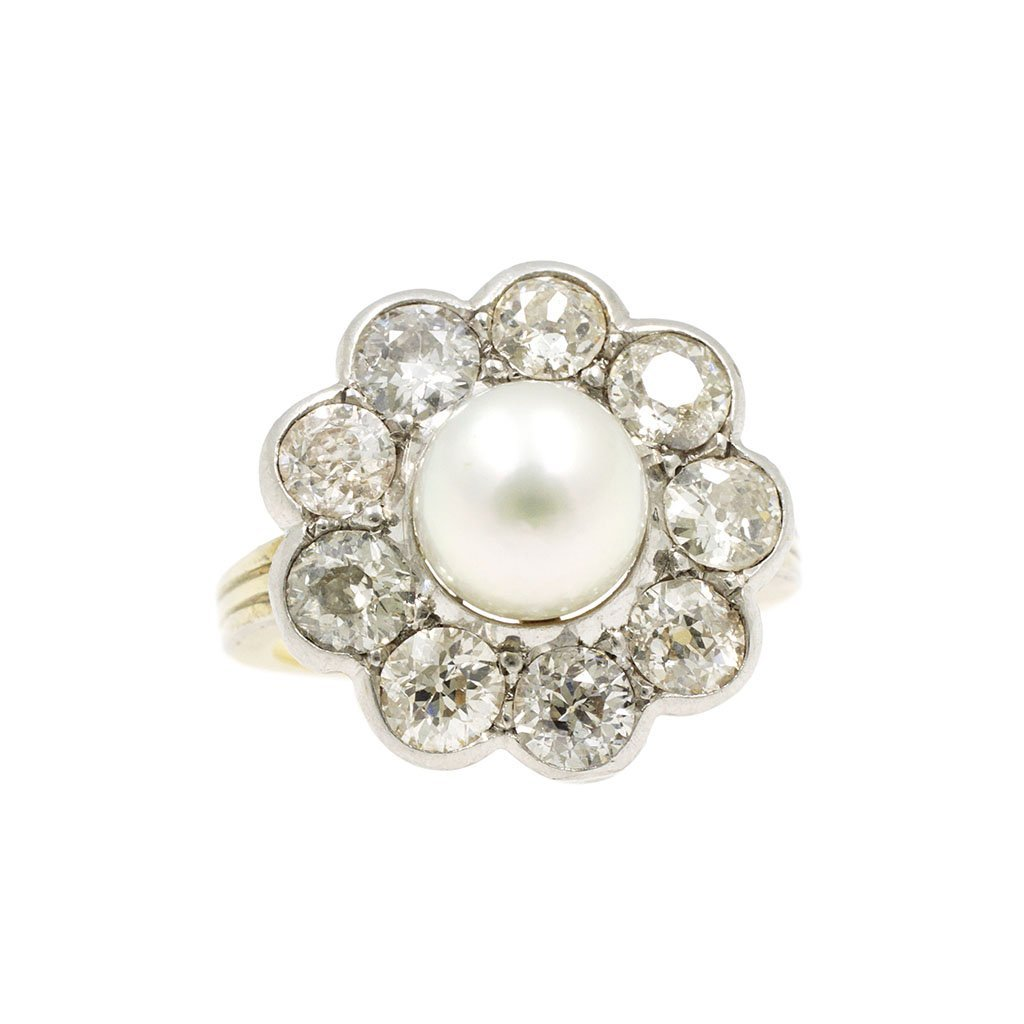 Art Deco Pearl Diamond Cluster Ring