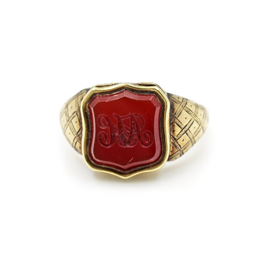 Victorian 18k Gold Carnelian Poison Ring
