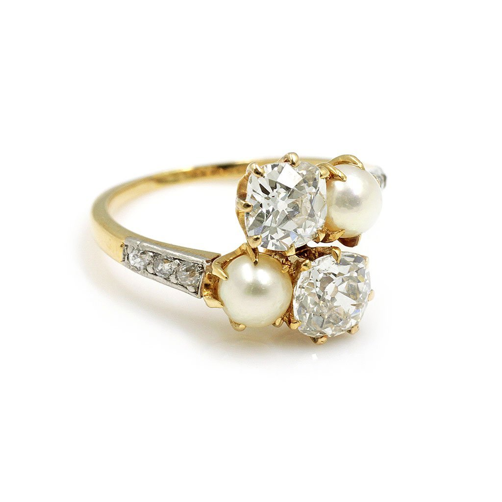 Jacques & Marcus Edwardian Diamond Pearl Gold Ring